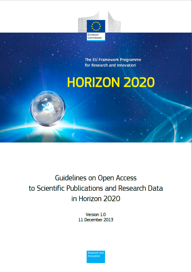 GuidelinesOnOpenAccessToScientificPublicationsAndResearchDataInHorizon2020Ver1Cover